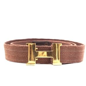 Hermes Vintage Adjustable H plate Canvas Belt